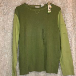 NWT Two Tone Green Cotton Sweater